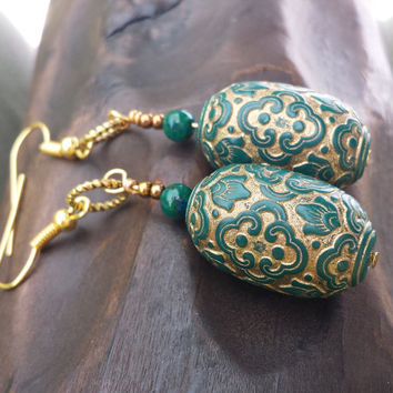 Antique German Bead Earrings, Green and Gold Antique Earrings, German Earrings, Antique Earrings, Christmas Earrings, by DreamingAlice