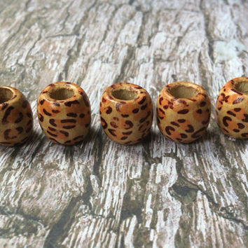 Bohemian Dreadlock Animal Print Bead Set - Boho Hippy Style Hair Beads Festival Hair Floral Hair Beads