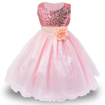 1 Sequin Princess Dress 10 Colors - Sizes 3-12 Years