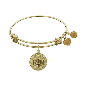 Stipple Finish Brass Registered Nurse Angelica Bangle Bracelet, 7.25""