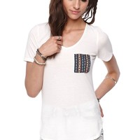 LA Hearts Crochet Pocket Top - Womens Tee - White -