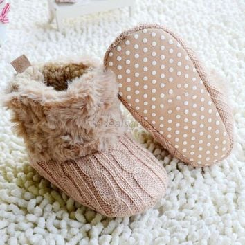 Snow Warm Baby Infant Crochet Knit Fleece Boot Toddler Girl Wool Crib Shoes Boot