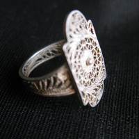 Filigree rings, cannetille jewelry art deco silver vintage, size 7 filigree ring