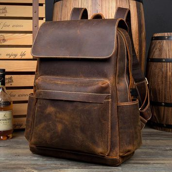 Designer handmade genuine leathe backpacks men women business versatile backpack brand vintage school book bags fashion bolsa