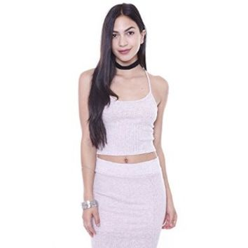 T6693 Rib Knit Cross Back Crop Top Junior's Clothing