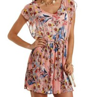 Accordion Pleated Floral Skater Dress
