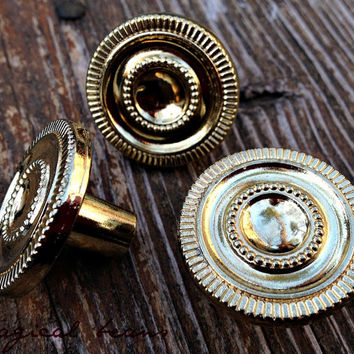 Gold Knobs / Polished Brass Intricate Design/ Decorative Pulls for Furniture / Decor