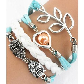 Handmade Adjustable Leaf Owls Pearl Multilayer Leather Bracelet Wristband