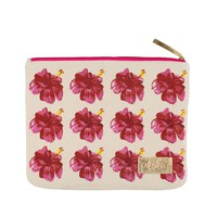 Alola - Hibiscus Clutch | Pink on Natural Canvas