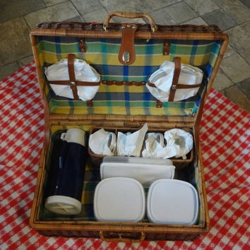Just Add Food! Packed Wicker Suitcase Full of Picnic Supplies