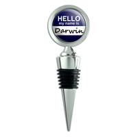 Darwin Hello My Name Is Wine Bottle Stopper