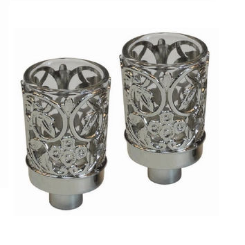 "Ultimate Judaica Neronim Set of 2 Candle Holders Nickel Plated 3""H"