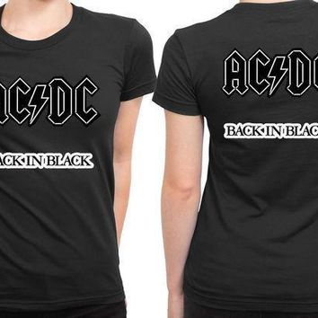 Acdc Back In Black 2 Sided Womens T Shirt