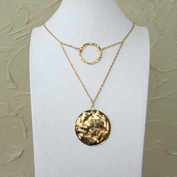 Gold circle necklace - gold disc necklace - modern gold necklace