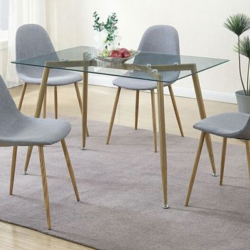 5 pc Mid Century collection rectangular glass top and grey fabric seat dining table and chairs