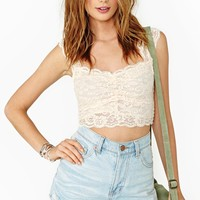 Scalloped Lace Crop Top - Peach