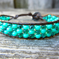 Beaded Mini Cuff Single Wrap Bracelet Teal Green St Patricks Day Choose Your Colors