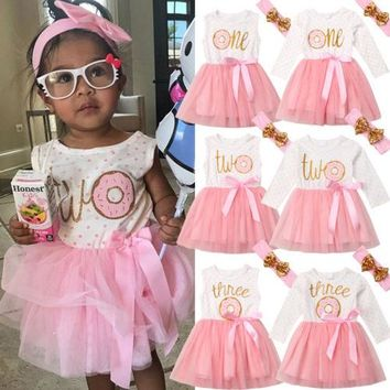 US Newborn Toddler Kid Baby Girl Donut Tulle Tutu Princess Party Pageant Dresses