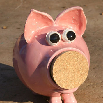 Penelope - Pink Ceramic Piggy Bank - Hand Thrown Stoneware Pottery