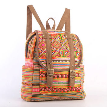 Small Ethnic Rucksack Backpack Gypsy Bohemian Hippie Bag Vintage HMONG Tribal Fabric