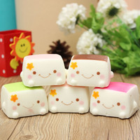 5CM Cute Chinese Tofu Kawaii Smile Squishy Bread Keychain Bag Phone Charm Strap