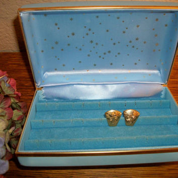Jewelry Box for Post Earrings Blue Vinyl Case Lined Compartment Box Vintage 1970's Flip Top Storage Box