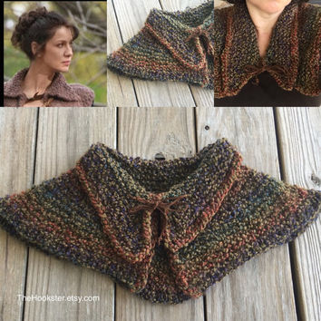 Outlander knit caplet with color options, Outlander inspired knit fashion, Claire Fraser Randall chunky knit caplet, made to order, #CF001