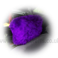 Purple fluffy faux fur car headrest covers 1 pair