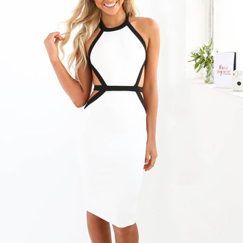 ☀ Make them stare ☀ Women Spring Sexy Bodycon Sleeveless Patchwork Dress Party Summer Slim Bandage Pencil White Black