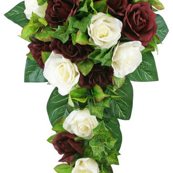 Burgundy and Ivory Silk Rose Cascade - Silk Bridal Wedding Bouquet