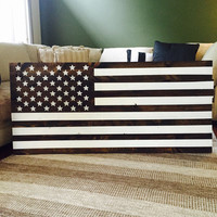 American Flag on Pallet Wood; Rustic American Flag Hand Painted on Wood; Distressed American Flag on Wood Panel