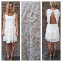 Ivory Cupid Lace Open Back Dress