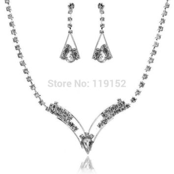 V Shaped Rhinestone Crystal Necklace Earrings