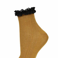 BLACK LACE TRIM ANKLE SOCKS
