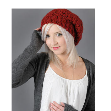 Slouchy Hat Beanie Dark Red Chili Pepper Crochet Beany Slouch Knit Women Teen Red Crochet Hat