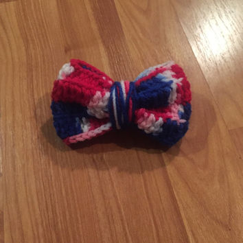 Fourth of July Hair Bow / Crochet Hair Bow / Hair Clip / 4th of July Hair Bow / Patriotic Hair Bow / Crochet Bow