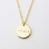 Personalized Initial Necklace 12mm / Customized Gold Disk Necklace / Bridesmaids Gift