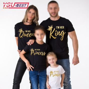 2018 Mother Daughter Family Matching Outfits Matching Father Mother Daughter Son Clothes Cotton T-shirt King Queen Family Look