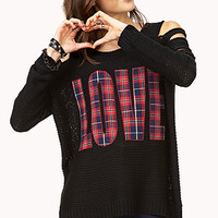 FOREVER 21 Grunge-Girl Love Sweater Black/Navy Large