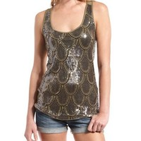 Scalloped Sequin Tank: Charlotte Russe