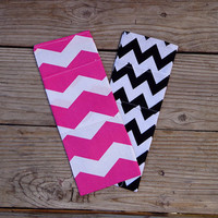 Hot Pink or Black Chevron print, Travel Curling Iron Case, Flat Iron Cooling Case