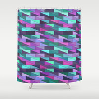 Geometric Abstract in Purple and Green Shower Curtain by pugmom4