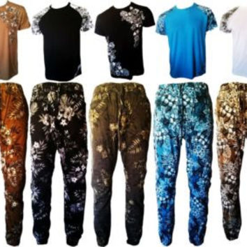 VICTORIOUS MENS TWILL JOGGER PANTS FLORAL PRINTED T-SHIRT
