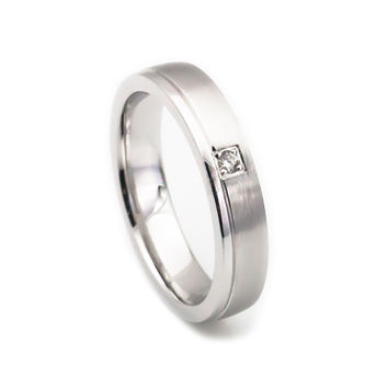 Women's 14k white gold 5mm wedding band comfort fit