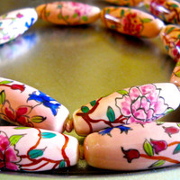 Chinese Porcelain Necklace, Hand Painted Beads, Pink Peach, Vintage