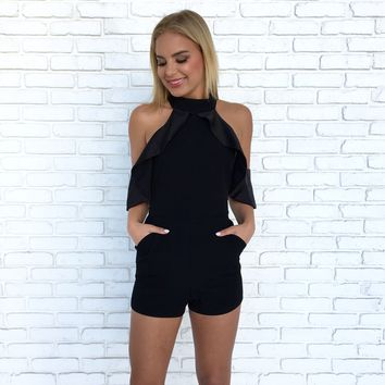 Manhattan Ruffle Romper in Black
