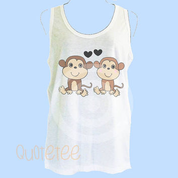 Funny tank top Women Mankey tank top - Animal lover gift ideas S M L XL - women tank tops