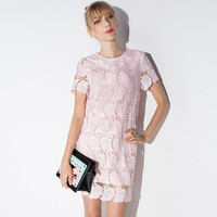 Pink Rose Embroidered Short Sleeves Lace Shift Dress
