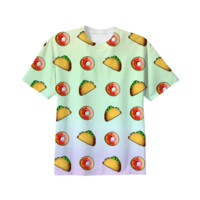 Taco and Donut Unisex T-shirt created by Adorkible Designs | Print All Over Me