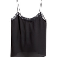 H&M - Woven Tank Top - Black - Ladies